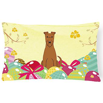 Easter Eggs Irish Terrier Canvas Fabric Decorative Pillow