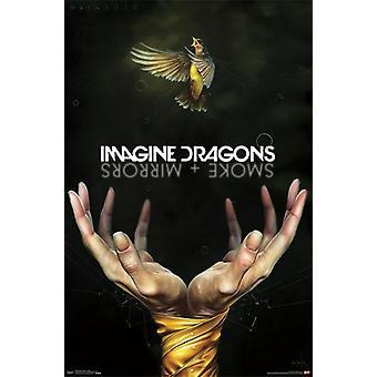 Stellen Sie sich vor den Drachen - Rauch Poster Print von