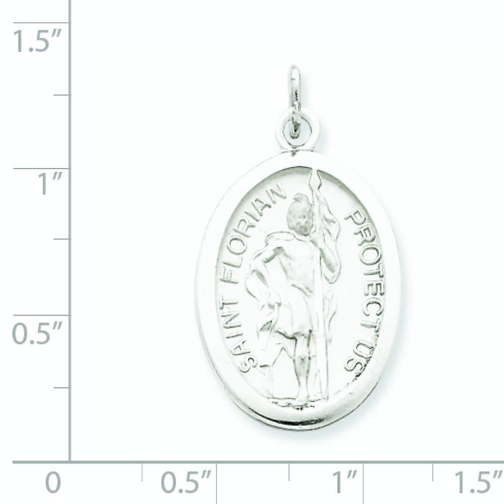 925 Sterling Silber solide Satin poliert Gravierbare funkeln geschnitten St. Florian Medaille Anhänger Halskette Schmuck Geschenke für Wom