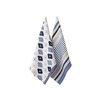 Ladelle Set of 2 Mila Blue Tea Towels