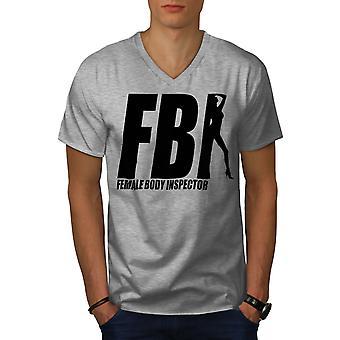 Offensive Joke Funy Men GreyV-Neck T-shirt | Wellcoda