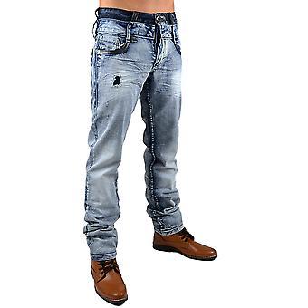 New Men's Jeans Designer Vintage Destroyed light blue Clubwear Style Usedlook