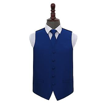 Royal Blue Solid Check Wedding Waistcoat & Tie Set