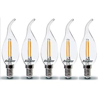 5 X Energizer LED Bent Tip Candle SES E14 2.4W = 25W 250lm 2700 K Warm White Chandelier Bulb  [Energy Class A+]