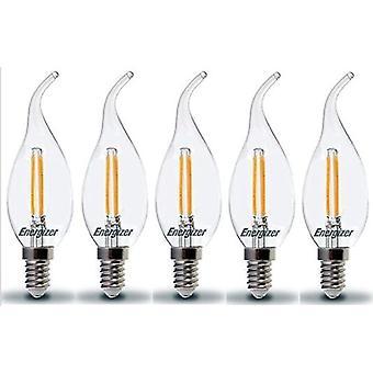 5 X Energizer LED dobló punta vela E14 SES 2.4W = 25W bombilla lámpara blanco cálido de 2700 K de 250lm [clase energética A +]