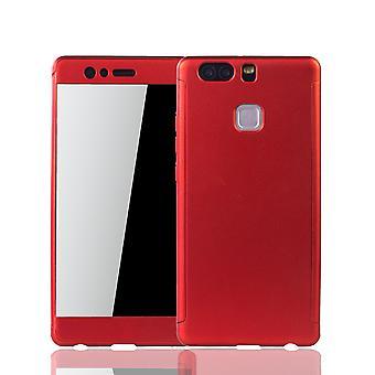 huawei P9 puhelimen tapauksessa suojakotelo 360 koko kansi säiliön suoja lasi punainen