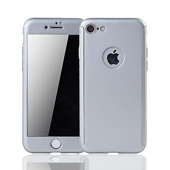 Apple iPhone 8 caso de protección de la funda del teléfono cubierta completa del tanque de protección del vidrio plata