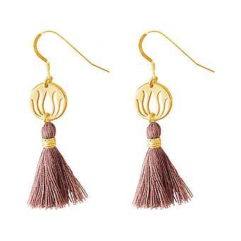 -925 argento - placcato oro - fiore di loto - YOGA - 4 cm tassel ladies - Orecchini - Orecchini - rosa-