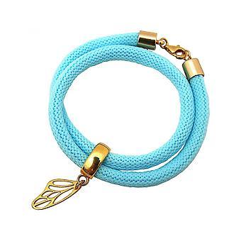 Blue - butterfly - gold-plated ladies bracelet - wrap bracelet - 925 Silver-