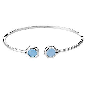 Orphelia 925 Silber Armreif Twist milchig Meer Blau Glas ZA-7403