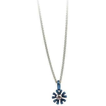 Ti2 Titanium små ti Petal blomst vedhæng - himmelblå