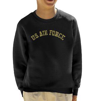 US Airforce Training Yellow Text Distressed Kid's Sweatshirt