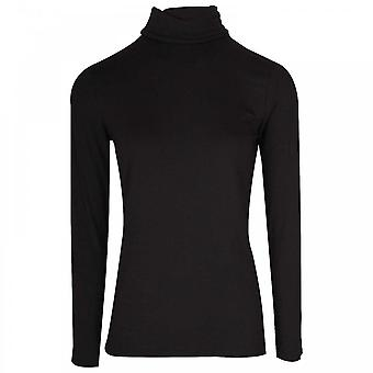 Latte Long Sleeve Black Polo Neck Top