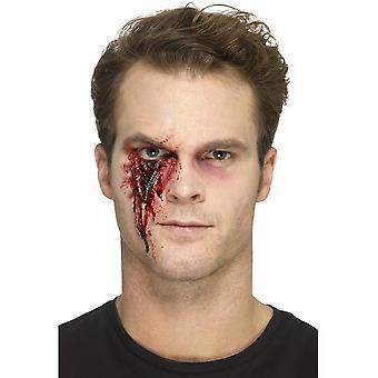 Látex Zip cicatriz protética, vermelho, com adesivo