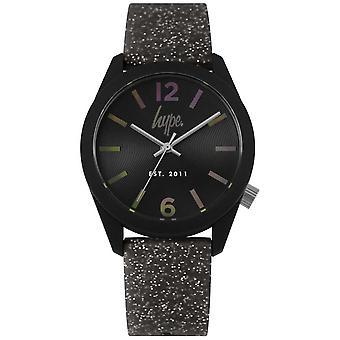 Hype | Womens Black Glitter Silicone Strap | Black Dial HYL004B Watch