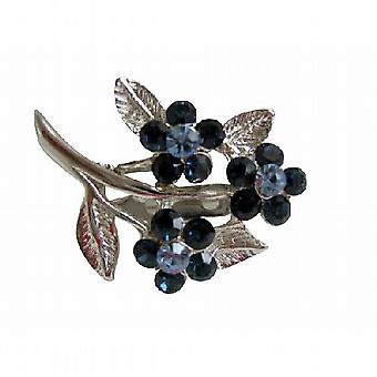 Sapphire Crystals Flower Brooch with Cubic Zricon On Stem & Leaf