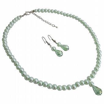 Красивая Свадебная бижутерия цветочниц Lite зеленый жемчуг