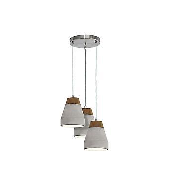 Eglo - lampada da soffitto luce Tarega 3 In finitura grigio cemento e legno EG95526