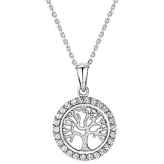 Bella Cubic Zirconia Tree of Life Pendant - Silver