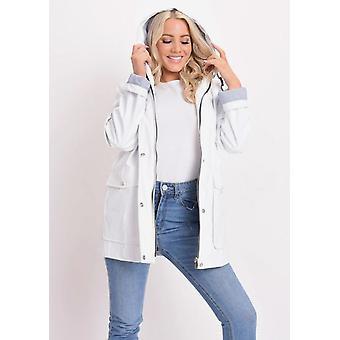 Impermeable con capucha lluvia Festival Mac capa blanco