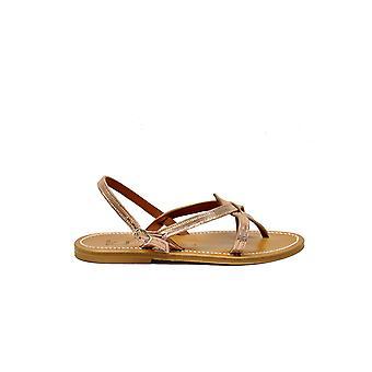 K.jacques Oriondiscopeach Women's Orange Leather Sandals