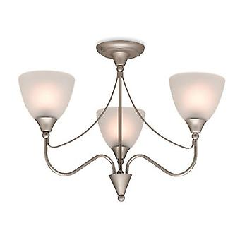 Firstlight - 3 Light Flush Ceiling Light Satin Steel, Opal Glass - 8039SS