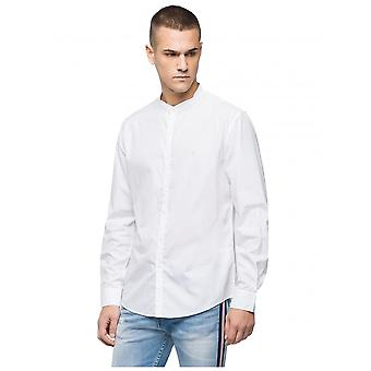 Replay Jeans Cotton Mandarin Collar Shirt - White
