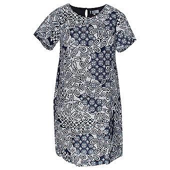 Vlt's By Valentina's Floral Print Short Sleeve Linen Dress