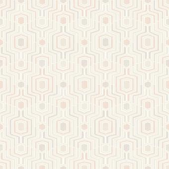 Pink 3D Geometric Wallpaper Embossed Taupe Grey White Metallic Grandeco Meso