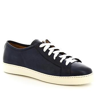 ليوناردو أحذية الرجال & ق الدانتيل المصنوعة يدويا أعلى متابعة أحذية رياضية أعلى في جلد الدنيم