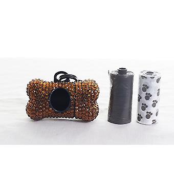 Brown Crystal Rhinestone Bone shaped Waste Bag Dispenser