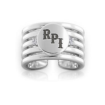 Rensselaer Polytechnic Institute Engraved Sterling Silver Diamond Multiband Cuff Ring