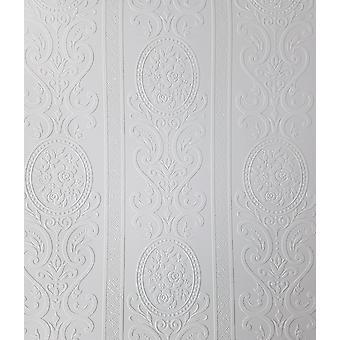 Anaglypta Louisa blanco pintable Floral Stripe Wallpaper Vinilo en relieve texturizado