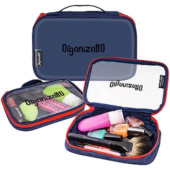 SHANY Organizatto Organizer 3-in-1 Set - Three Portable Zipper Cloth Handbags with Clear PVC Opening in Navy Blue - 3 PC