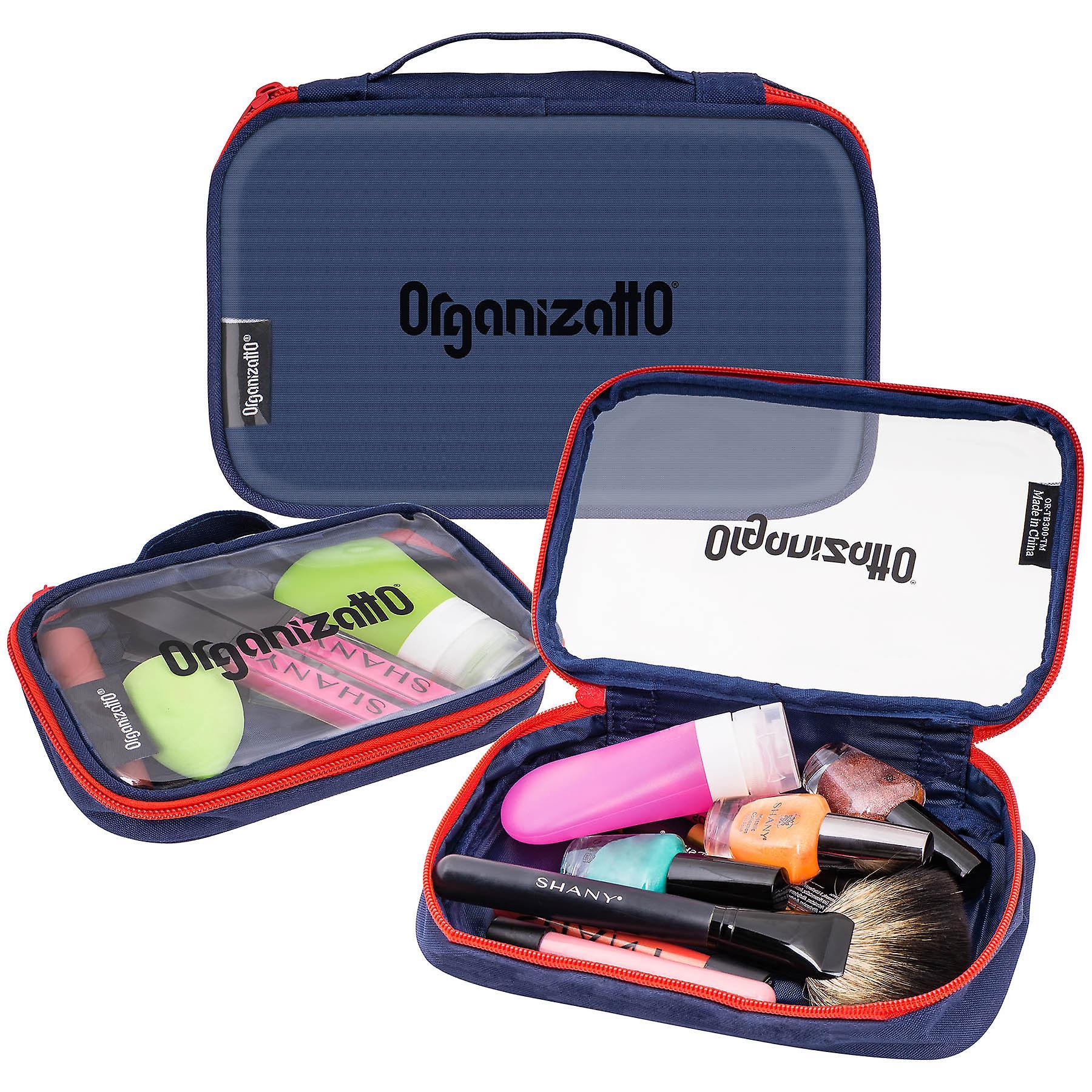 Organizatto Cosmetics Organizer 3-in-1 Set - Three Portable Zipper Cloth Handbags with Clear PVC Opening in Navy Blue - 3 PC