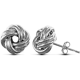 Jewelco London Ladies 9ct White Gold Love Knot Stud Earrings