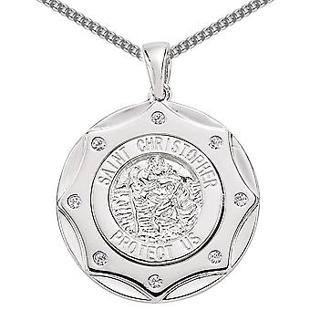 Jewelco London Rhodium Plated Silver Round Cubic Zirconia Sheriff Shield St Christopher Medallion Necklace 18 inch