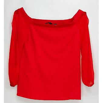 H by Halston Women's Top Off the Shoulder VIP Ponte Knit Red A295069