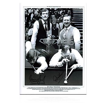 Signed Steve Davis And Dennis Taylor Snooker Photo: 1985 World Championship