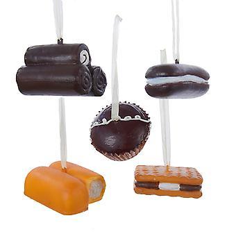 Kurt Adler Snack kaker Twinkie Yodel Cupcake Whoopie Pie Smores sett av 5