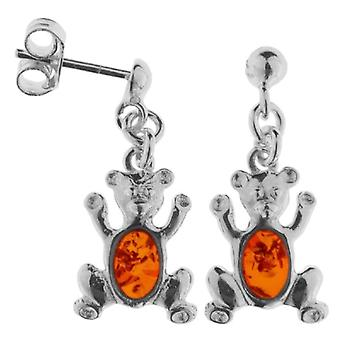 InCollections - Women's pendant earrings with amber - silver sterling 925 - cod. 0010260470890