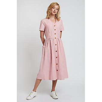 Louche Zelda Stripe Button Through Midi Dress Pink