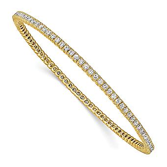 925 Sterling Silver Slip on Polished Prong set 14k Gold Plated With CZ Cubic Zirconia Simulated Diamond Cuff Stackable B