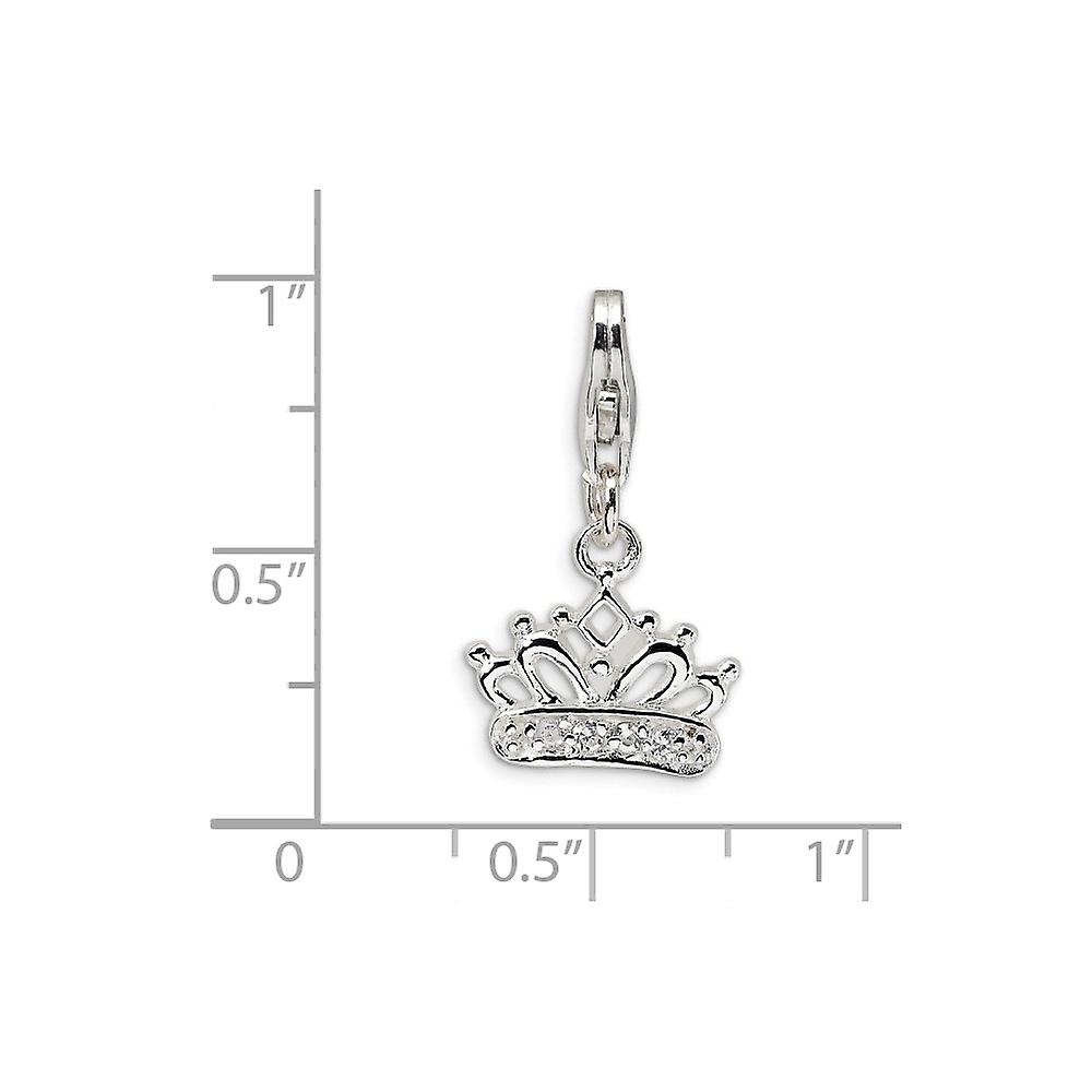 925 Sterling Silver Solid Polished Rhodium plated Fancy Lobster Closure CZ Cubic Zirconia Simulated Diamond Crown With L
