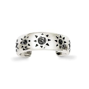 925 Sterling Silver Solid finish Sun Toe Ring Jewelry Gifts for Women - 2.5 Grams