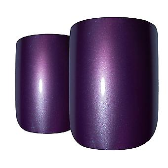 False nails bling art purple acrylic french manicure fake medium tips with glue