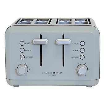Charles Bentley Grey 3kW 1.7 Kettle And 4 Slice Toaster Set New