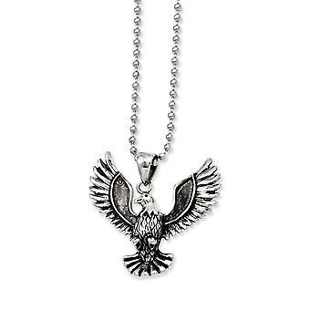 Edelstahl poliert Fancy Hummer Verschluss schreien Adler Anhänger 22 Inch Halskette 22 Zoll Schmuck Geschenke für Frauen