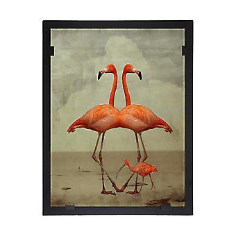 Glassvision-painting-Art glass-Flamingoduo Design Yvonne Heinonen