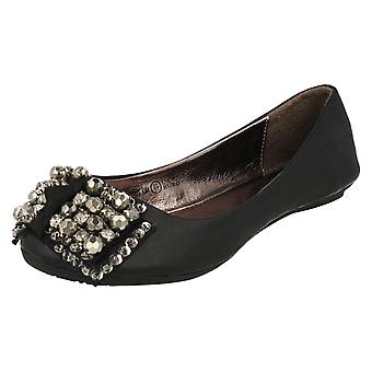 Girls Cutie Slip On Ballerina Pumps with Jewelled Bow H2227